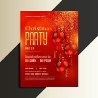 christmas party poster flyer in shiny red theme