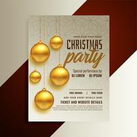 christmas party poster design with golden balls