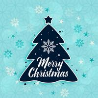 stylish merry christmas tree and snowflakes background