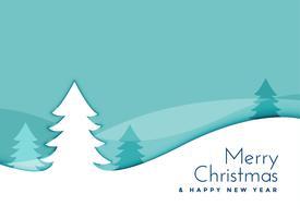elegant christmas tree landscape scene in papercut style