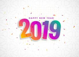 colorful 2019 in 3d style with confetti