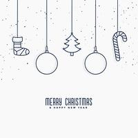 merry christmas elements decoration in line art