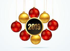 2019 gyllene bakgrund med hängande bollar dekoration