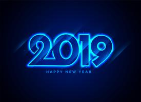 2019 happy new year neon text background