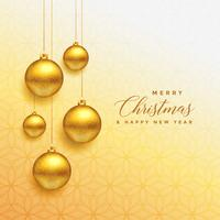 beautiful christmas golden balls hanging background