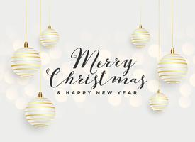 beautiful merry christmas hanging balls background