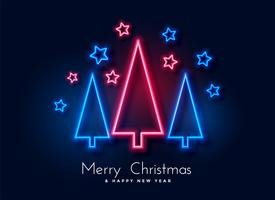 neon christmas tree and stars background