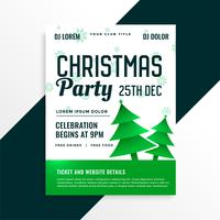 green christmas tree with christmas party celebration details