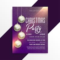 christmas shiny party invitation flyer template