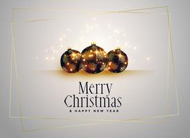 lovely christmas balls with golden sparkles background
