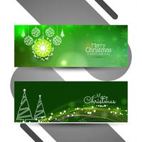 Abstract Merry Christmas banners set