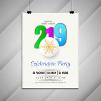 New Year 2019 celebration party modern flyer