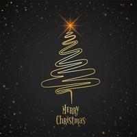 Beautiful merry christmas tree celebration background vector