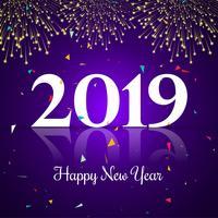 Celebración 2019 colorido feliz año nuevo fondo vector