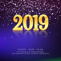 Abstract Happy New Year 2019 colorful background vector