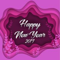Happy new year 2019 colorful paper cut greeting card background