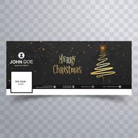 Tarjeta de feliz Navidad con plantilla de banner de portada de facebook