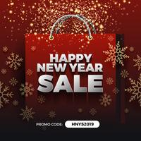 Happy New Year Sale Promotion Background Design with Golden Part