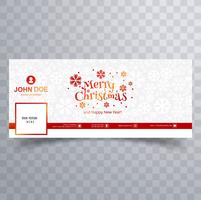Merry christmas card with facebook cover banner template