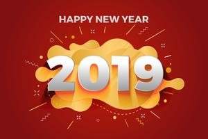 Happy new year 2019 abstract paper cut greeting card background  vector