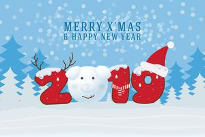 Merry Christmas and Happy New Year 2019. Christmas Greeting Card