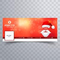 Merry christmas card facebook banner template design