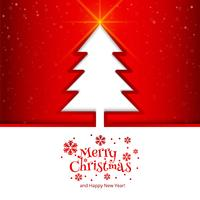 Merry christmas tree with colorful card background