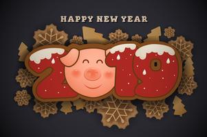 Happy New Year and Merry Christmas Greeting Card Background