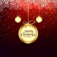 Merry christmas ball with colorful card background