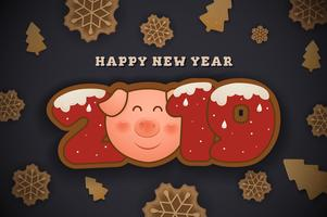 Happy New Year and Merry Christmas Greeting Card Background des