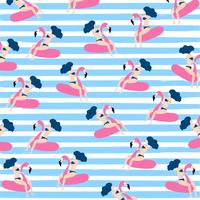 Summer seamless pattern design with woman on floating