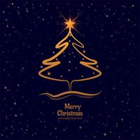Feliz árbol de navidad con el fondo colorido de la tarjeta