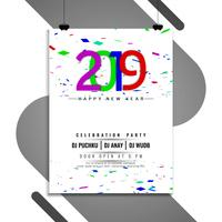 Happy New Year 2019 celebration party template vector