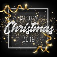 Merry Christmas and Happy New Year 2019 Greeting Card Background