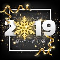 2019 Happy New Year Greeting Card Background. Vector illustratio