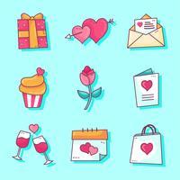 Vettore stabilito degli elementi di giorno di biglietti di S. Valentino