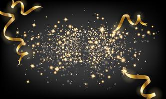 Golden sparkle particle and falling ribbon background. Vector il