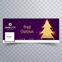 Beautiful merry christmas tree facebook banner template vector