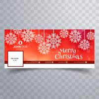 Beautiful merry christmas snowflake with facebook banner templa