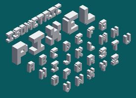3d isometrisk pixel font set