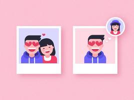 Garçon amoureux vecteur polaroids