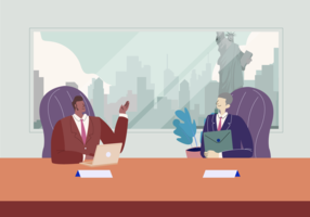 International Business Meeting Vector Flat Illustration