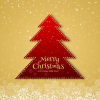Beautiful merry christmas tree celebration card background