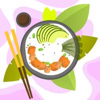 Flat Modern Poke Bowl With Salmon and Avocado Vector Illustration