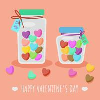 Valentine Candy Heart in Jar Vector
