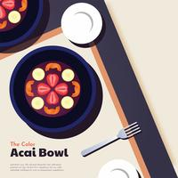 Color Acai Bowl Vector Design