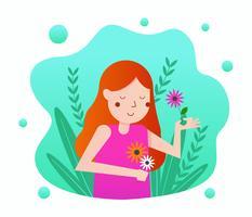 Meisje met bloem Vector