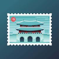 Estampilla postal de la puerta Gwanghwamun en Seúl