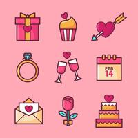 Valentines Day Elements Set Vector