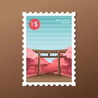 Primavera Tóquio Meiji Santuário Torii Selo Postal Vector
